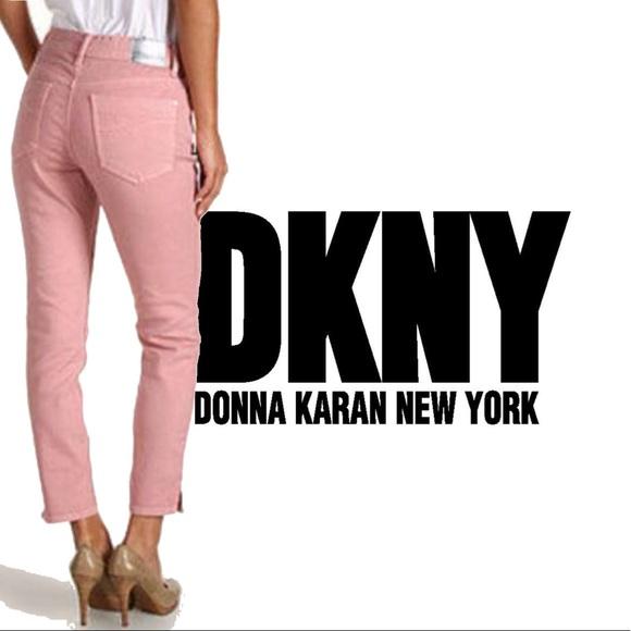 Dkny Denim - DKNY High Waist Houston Taper Cropped Pink Jeans